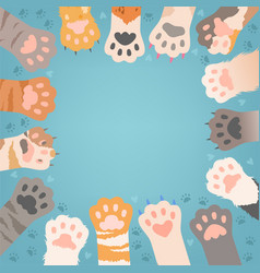 cats paw background funny domestic kitten pets vector image