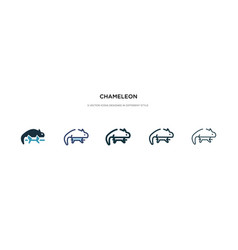 Chameleon icon in different style two colored vector
