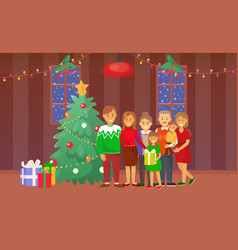 Christmas family standing pine tree holiday vector