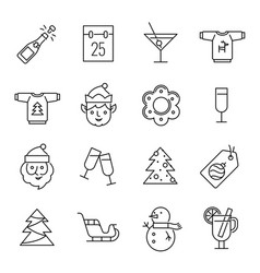 Christmas icons - santa claus elf and champagne vector