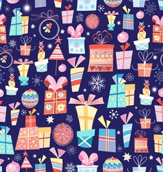 Christmas texture with gifts vector image vector image