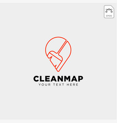 cleaning map location navigator logo template vector image