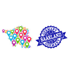 Collage map of saarland state with map markers and vector