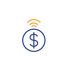 Contactless payment line icon dollar exchange vector