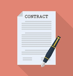 Contract document paper with pen vector image