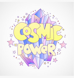 Cosmic power cartoon concept with bright vector