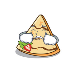 Crying crepe mascot cartoon style vector