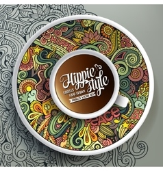 Cup coffee and hippie doodles vector