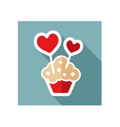 cupcake with two hearts icon vector image