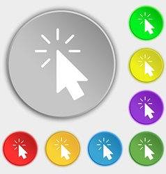 Cursor icon sign Symbol on eight flat buttons vector image