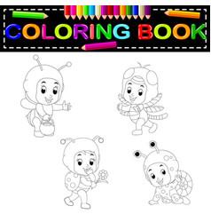 cute kids cartoon wearing animal costume coloring vector image