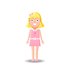 cute little blonde girl character in pink dress vector image