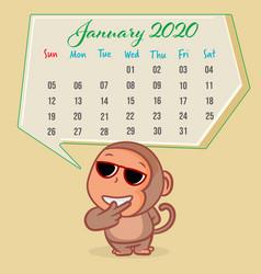 Cute monkey cartoon with january 2020 calendar vector
