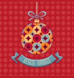 Czech language vesele vanoce christmas message vector