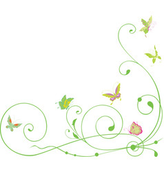Decorative corner from tendrils and butterflies vector