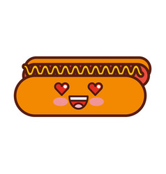 delicious hot dog kawaii character vector image