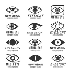 Eye see vision media logos set vector