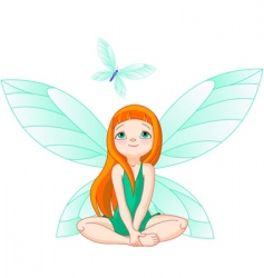 fairy observes for flying butterfly vector image vector image