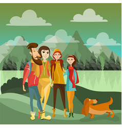 Family hiking in mountains concept poster vector