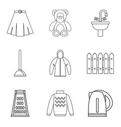 Family responsibility icons set outline style vector