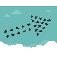 Flock of birds flying in the sky in an arrow vector