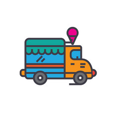 Food track ice cream car flat line vector