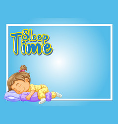 Frame design template with girl sleeping in bed vector