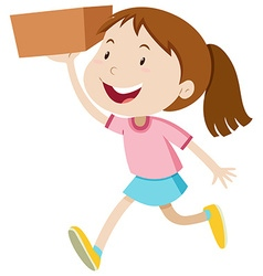 Girl running with a box vector