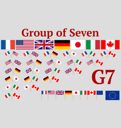 Group of seven set of flags of g7 member countries vector