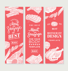 Hand drawn meat vertical banners vector