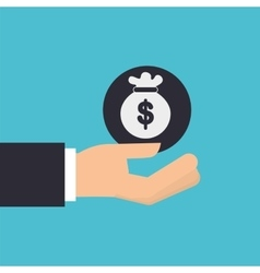 Hand holding bag money icon design isolated vector