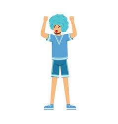 happy bearded football fan character in blue wig vector image