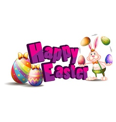 Happy easter with bunny and egg vector
