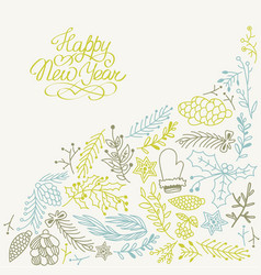 happy new year multicolored hand drawn sketch vector image