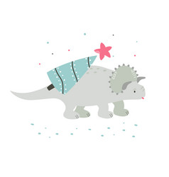 Holiday hand drawn dino with christmas tree vector