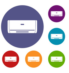 Internal unit air conditioner icons set vector