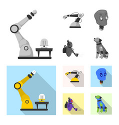 Isolated object of robot and factory symbol vector