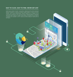 isometric map plan with buildings on smart phone vector image