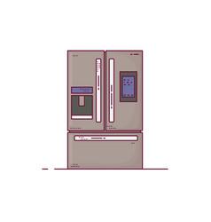 Kitchen modern fridge line style vector