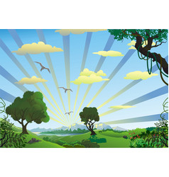 landscape - trees in the morning on the hill vector image