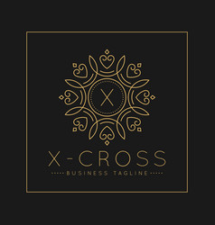 Letter x logo with classic and luxurious line art vector