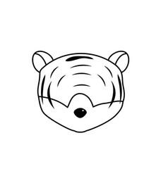 line tiger head wild cute animal vector image