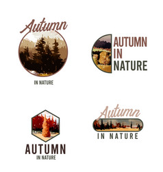logo design with landscape in autumn vector image