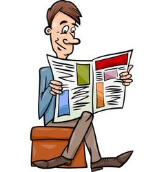 man with newspaper cartoon vector image