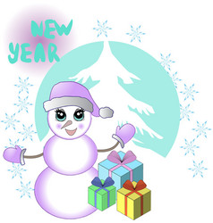 new yeaar card with snowman and gifts vector image