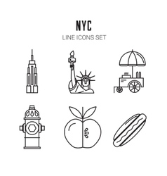 New york city line icons set vector