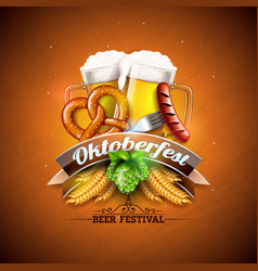 oktoberfest banner with fresh beer vector image