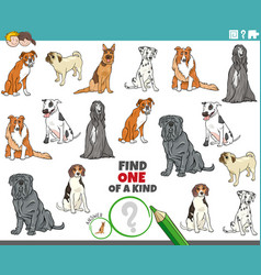 One a kind task for kids with cartoon purebred vector