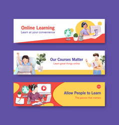 Online learning banner template design vector
