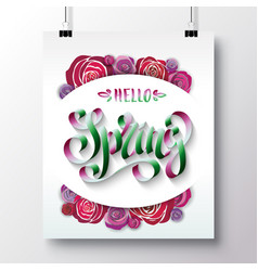 Poster with a handwritten phrase-hello spring 3 vector